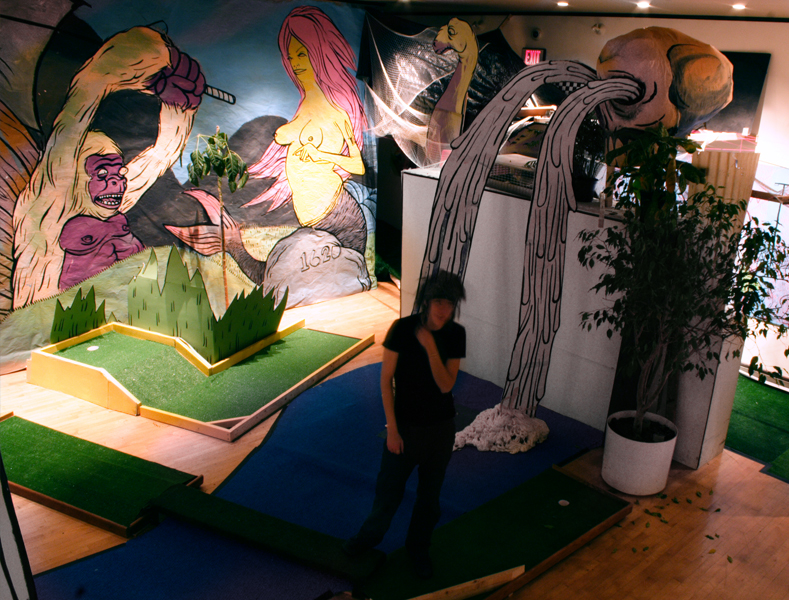 Whale island miniature golf installation for Dropkick murphys mural