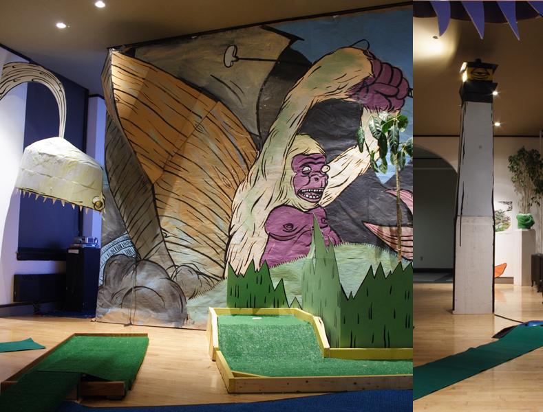 Whale island miniature golf installation for Dropkick murphys mural